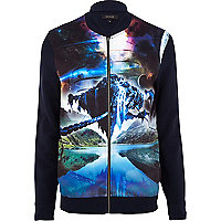 Navy cosmic sublimation print bomber jacket