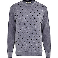 Blue burnout bird print sweatshirt