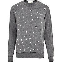 Dark grey burnout star print sweatshirt