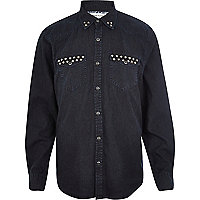 Dark navy studded denim shirt