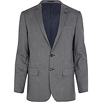 Blue check slim suit jacket