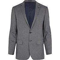 Blue check slim suit jacket