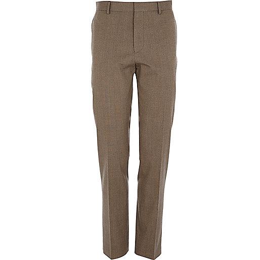 Brown check slim suit pants
