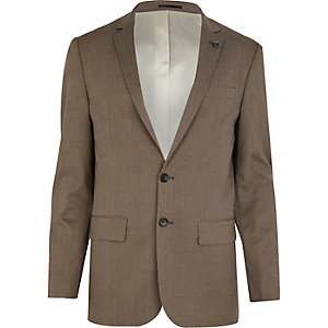 Brown check slim suit jacket