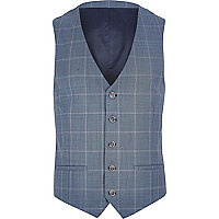 Blue check single breasted waistcoat