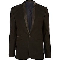 Black inverted leather-look collar blazer