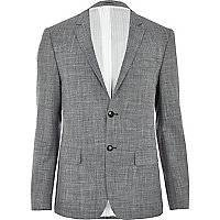 Grey wool and linen-blend blazer