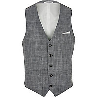 Grey wool and linen-blend waistcoat