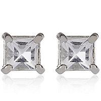 Grey gem stone stud earrings