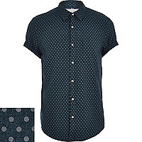Dark green polka dot short sleeve shirt