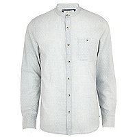 Light blue polka dot print grandad shirt