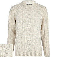 Ecru chunky cable knit jumper