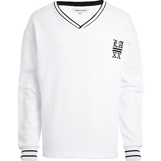 White LA XX stripe trim sweatshirt