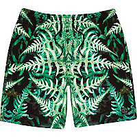 Green fern print mid length swim shorts
