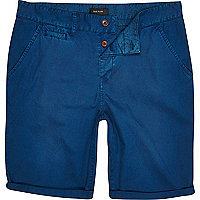 Blue turn up chino shorts