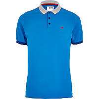 Blue Boxfresh contrast trim polo shirt