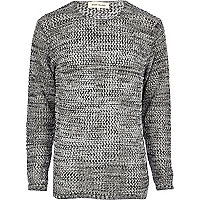 Grey open knit crew neck jumper