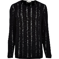 Black cable knit mesh jumper