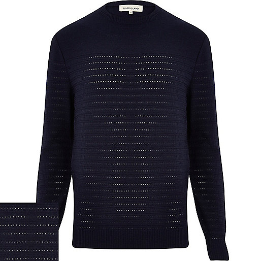 Navy blue mesh stripe crew neck jumper