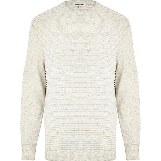 Ecru ripple textured contrast sleeve jumper