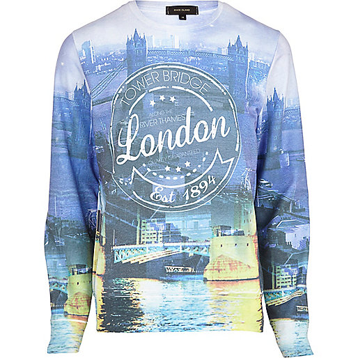 Blue London Tower Bridge print sweatshirt