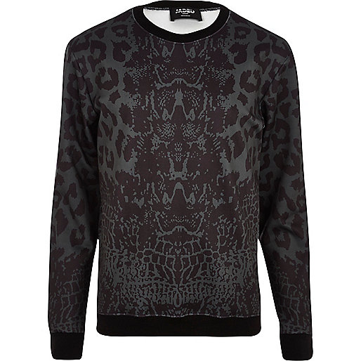 Black Jaded London animal print sweatshirt