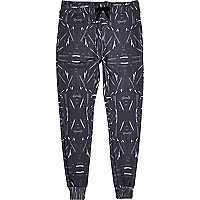 Black Jaded London metal print joggers