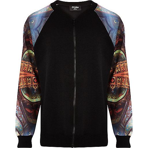 Black Jaded London print sleeve bomber jacket