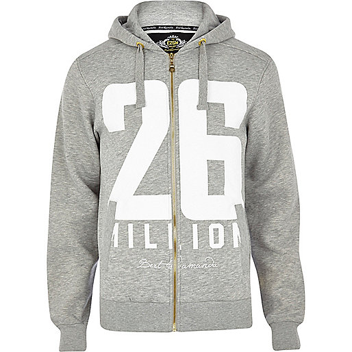 Grey 26 Million logo print hoodie