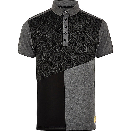 Black 26 Million colour block polo shirt