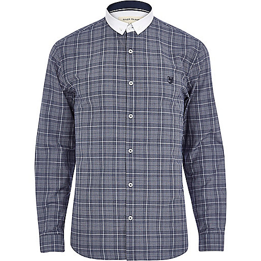 Navy check contrast collar long sleeve shirt