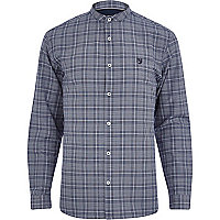 Navy check grandad collar long sleeve shirt
