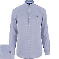 Blue dogtooth motif long sleeve shirt