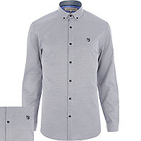 Black dogtooth motif long sleeve shirt
