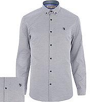 Black dogtooth motif long sleeve shirt