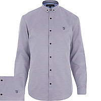 Purple dogtooth motif long sleeve shirt
