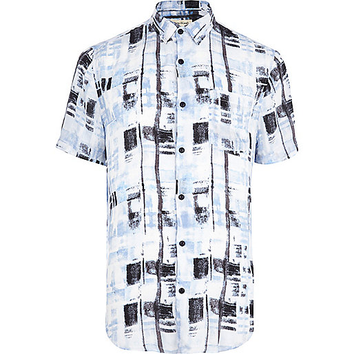 Blue blurred check print short sleeve shirt