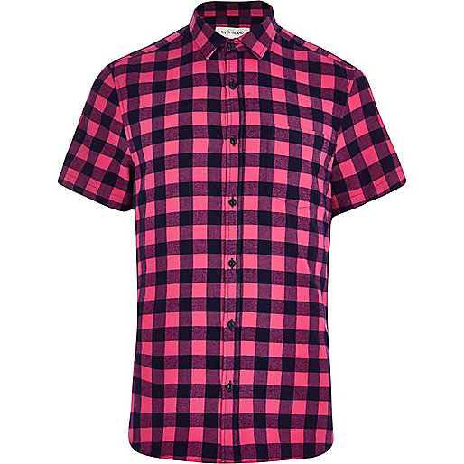Pink brushed check short sleeve shirt