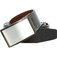 Black reversible brushed metal plate belt