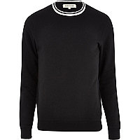 Black stripe crew neck sweatshirt
