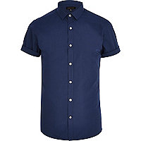 Navy blue short sleeve poplin shirt