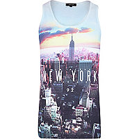 White New York print vest