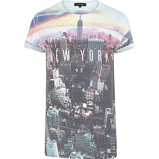 White New York sublimation print t-shirt