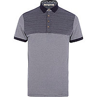Navy herringbone yoke stripe polo shirt