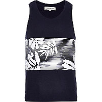 Navy stripe leaf print panel vest