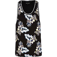 Black floral print scoop neck vest