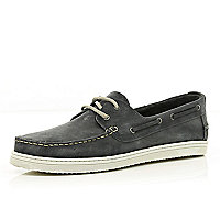 Dark grey distressed boat shoes