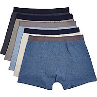 Blue and grey ribbed boxer shorts pack