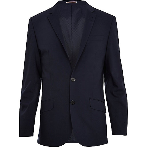 Navy blue wool-blend slim suit jacket