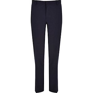 Navy blue wool-blend slim suit pants